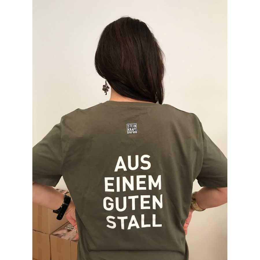 """STEINKRAFT Zeolith für Tiere - T-Shirt """"Aus einem guten Stall"""" Bio Baumwolle"""