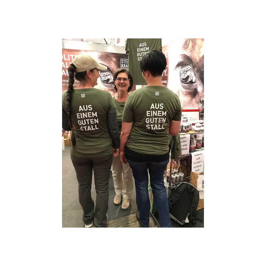 Wenn man aus einem guten Pferde-Stall kommt, dann darf man es auch herzeigen. STEINKRAFT Zeolith T-Shirt aus BIO-Baumwolle