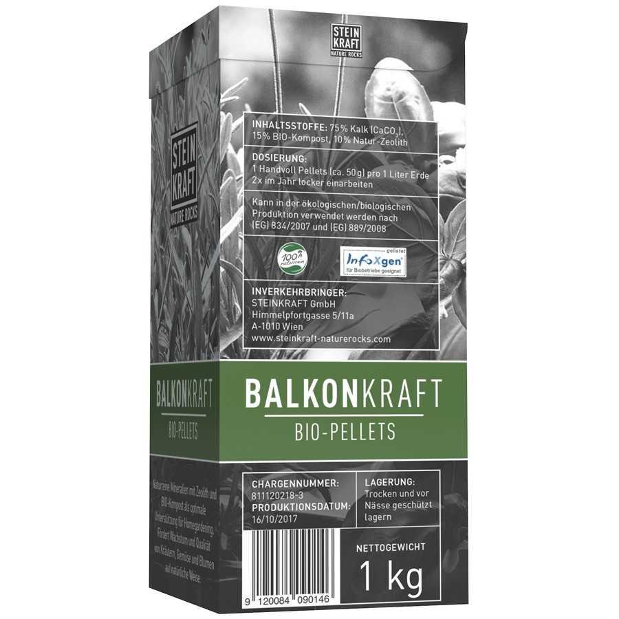 BALKONKRAFT Bio Pellets 10% Natur-Zeolith Schachtel 1kg Rückseite